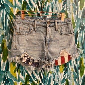 High waisted destroyed American flag denim shorts